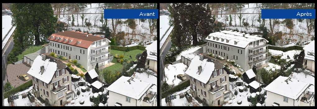 Retouche sur Photoshop d'imagerie d'architecture.